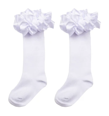 caramelo knee high ruffle socks white