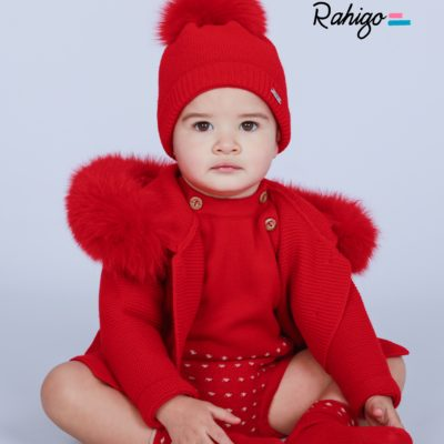 rahigo fur hood jacket cardigan matching pom pom hat red