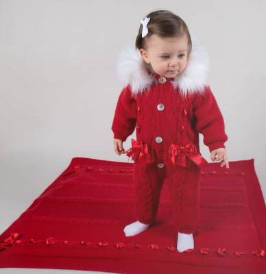 oon - Caramelo Pramsuit red faux fur hood and lace