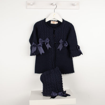Caramelo Navy Knitted Cardigan & Bonnet