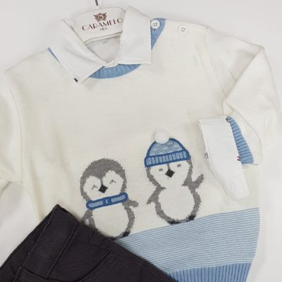 CARAMELO-BOYS-CHINO-PENGUIN-JUMPER-KNITWEAR-JUMPER-SHIRT-SET