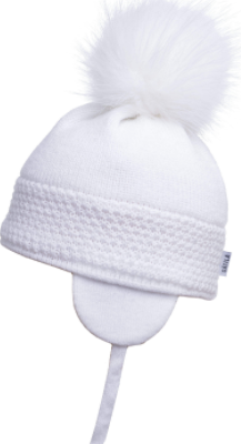 Satila Daisy White Faux Fur Pom Hat