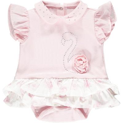 Little A Jadine Frilly Flamingo Romper Dress