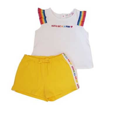 agatha rainbow vest tshirt and short set