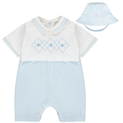 Emile Et Rose Wilson Jersey Romper With Matching Hat