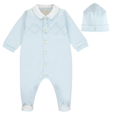 Emile Et Rose Walter Embroidered Babygrow With Hat In Baby Blue