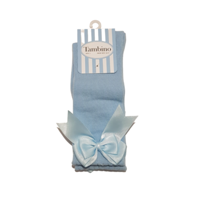 tambino knee high bow socks in pale blue
