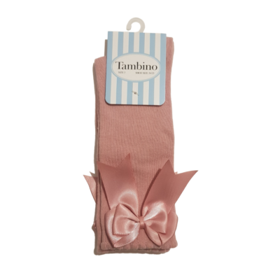 tambino knee high bow socks in blush pink