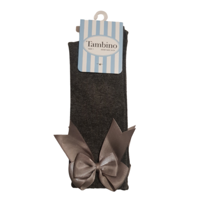 Tambino Grey Knee High Bow Socks