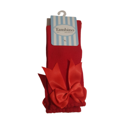 Tambino Red Knee High Bow Socks