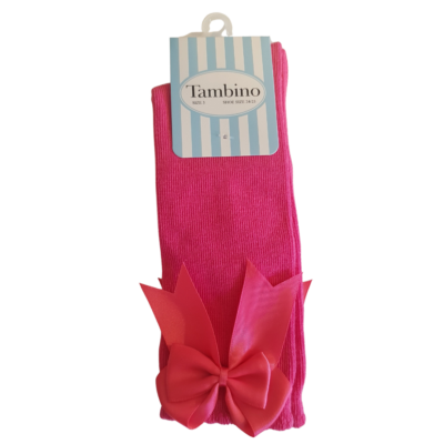 Tambino Fushia Pink Knee High Bow Socks