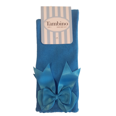 Tambino Electric Blue Knee High Bow Socks
