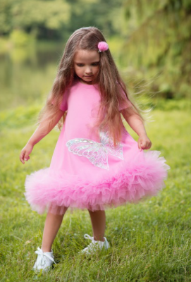 Daga Sequin Butterfly Tulle Dress - Pink