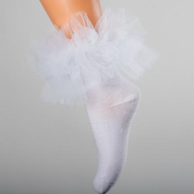 Daga Tulle Ruffle Ankle Socks - White
