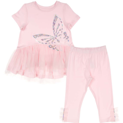Daga Sequin Butterfly Tulle Legging Set - Pink
