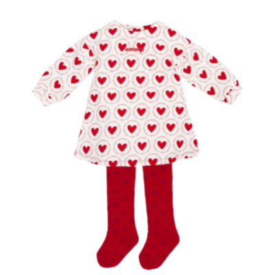 AGATHA RUIZ DE LA PRADA LOGO HEART PRINT DRESS AND TIGHTS RED