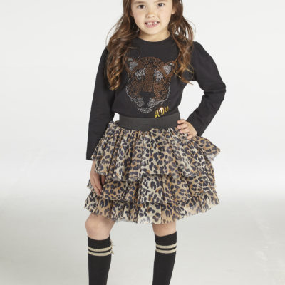 ADEE WILD ABOUT BIG CATS THEA LEOPARD TOP AND PRINT TULE SKIRT