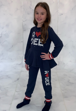 ADEE KNITTED LOVE ROYALTY PEPLEM NAVY TRACKSUIT