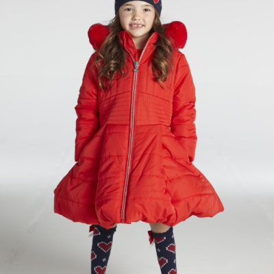 ADEE KNITTED LOVE RUBY COAT IN RED